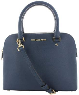 Michael Kors Cindy Womens Saffiano Leather Satchel Handbag Blue