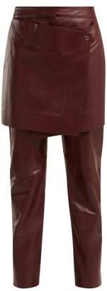 Sies Marjan Judie Apron Panelled Leather Trousers - Womens - Burgundy