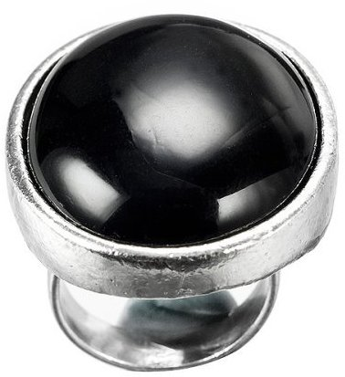 Black Solid Oval Ring - 7