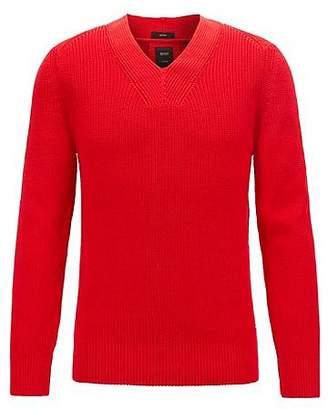 HUGO BOSS V-neck ribbed sweater in mercerised cotton