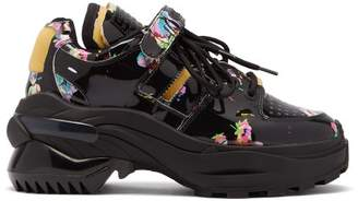 Maison Margiela Retro Fit Kawaii Print Patent Leather Trainers - Womens - Black Multi