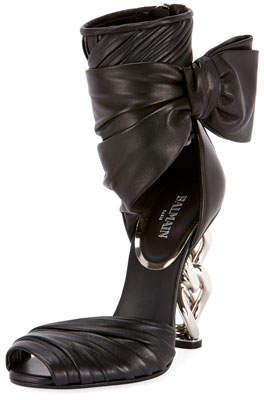 Balmain Ivy Leather Wrap Chain-Heel Sandal