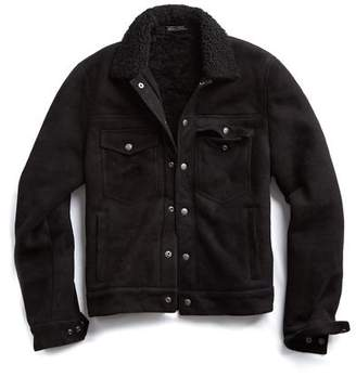 Todd Snyder Dylan Shearling Suede Jacket in Black