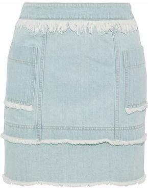 Nicholas Frayed Denim Mini Skirt