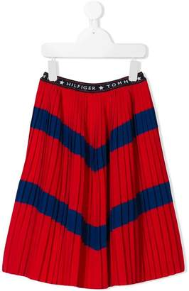 Tommy Hilfiger Junior chevron stripe pleated skirt