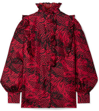 Gucci Ruffled Printed Silk-twill Shirt - Red