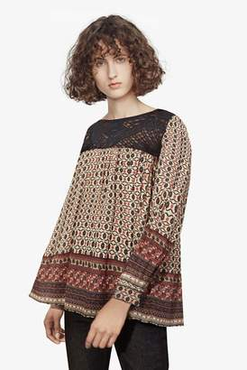 Fcus Lace and Printed Crepe Smock Top
