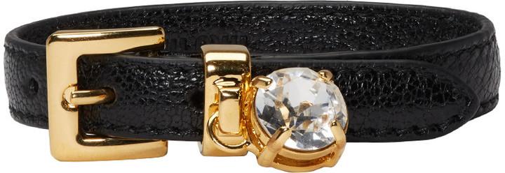 Miu MiuMiu Miu Black Crystal Belt Bracelet
