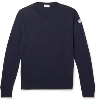Moncler Contrast-Tipped Virgin Wool Sweater - Men - Navy