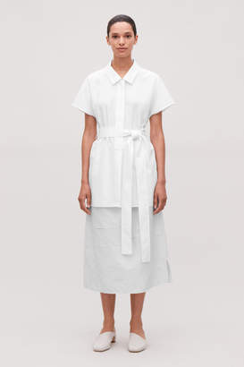 Cos WOVEN-JERSEY BELTED SHIRT