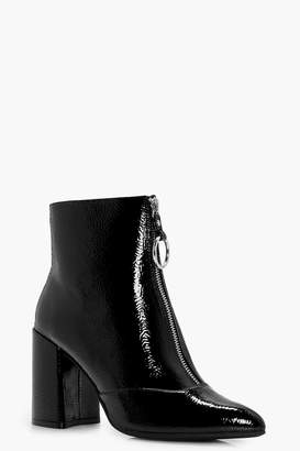 boohoo Oversized O-Ring Cylinder Heel Shoe Boots