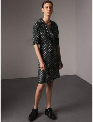 Burberry Polka-dot Silk Wrap Dress