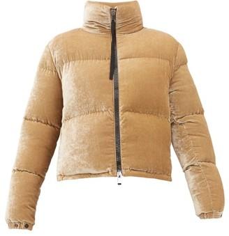 Moncler Rimac Velvet High Neck Quilted Jacket - Womens - Camel