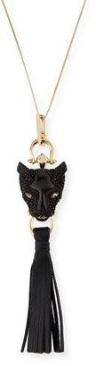 Alexis Bittar Crystal Panther Tassel Necklace, Black/Gold $345 thestylecure.com