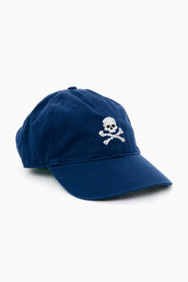 Smathers and Branson Navy Needlepoint Jolly Roger Hat