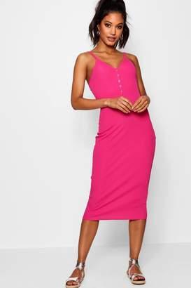 boohoo Popper Detail Rib Cami Midi Dress