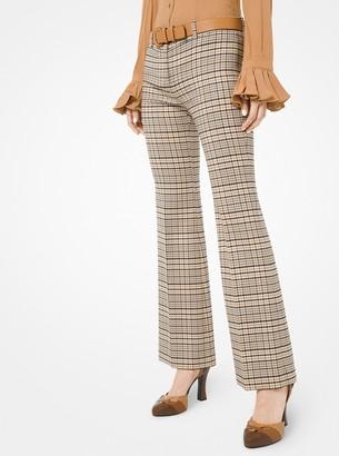 Michael Kors Plaid Stretch Wool Flared Trousers