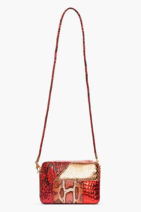 Stella McCartney Red Winter Patchwork Sparkle Shoulder Bag