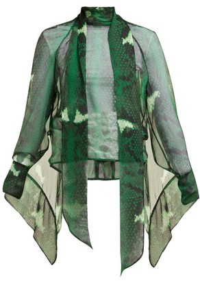 Petar Petrov Barry Snake Print Silk Blouse - Womens - Green Print