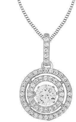 JCPenney FINE JEWELRY Love in Motion Round Lab-Created White Sapphire Double-Halo Pendant Necklace