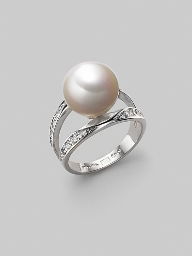 Majorica 12MM White Pearl & Sterling Silver Ring