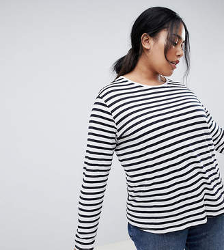 Asos DESIGN Curve relaxed long sleeve top in stripe