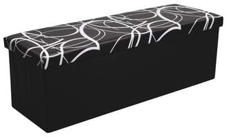 Otto & Ben 45 inch Swirl Design Storage Ottoman with Faux Leather, Color available in White/Black