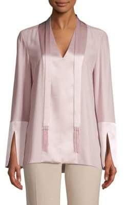 Elie Tahari Mavrick Silk Charmeuse Two-Tone Blouse