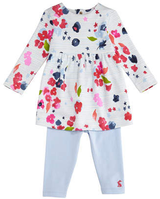 Joules Christina Striped & Floral Dress w/ Solid Leggings, Size 6-24 Months