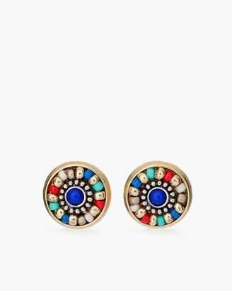 Multi-Colored Seed Bead Stud Earrings