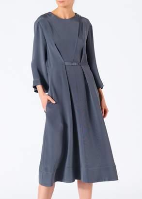 Tibi Silk Cropped Sleeve Dress