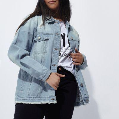River IslandRiver Island Womens Plus blue distressed denim jacket