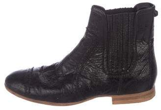 Balenciaga Leather Round-Toe Ankle Boots