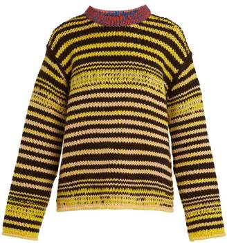 Calvin Klein Television Striped Wool Sweater - Womens - Yellow Multi