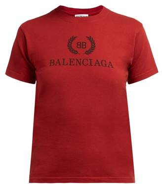 Balenciaga Logo Print Cotton T Shirt - Womens - Burgundy