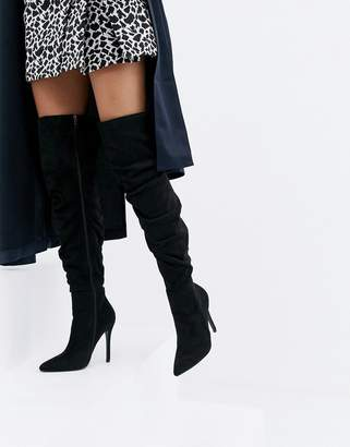 PrettyLittleThing stiletto heeled slouchy over the knee boots in black