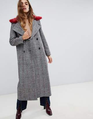 Neon Rose maxi coat in checked tweed with faux fur collar