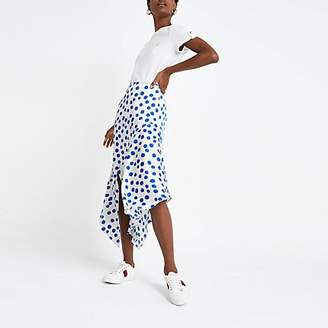 River Island Blue spot asymmetric midi skirt