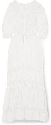 LoveShackFancy Callan Crochet-trimmed Embroidered Cotton-voile Maxi Dress - White