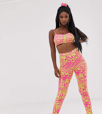 Elsie & Fred high waisted leggings in yellow leopard print co-ord