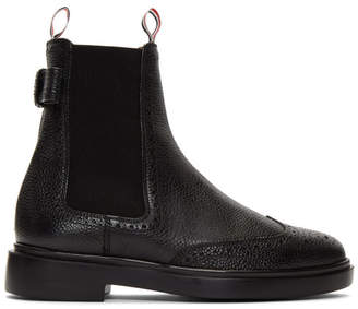 e86330d3bc06 Thom Browne Black Brogued Bow Chelsea Boots