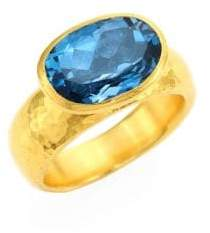 Gurhan Rainbow One of a Kind 24K Yellow Gold& London Blue Topaz Ring
