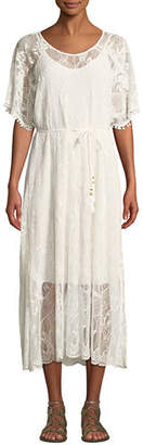 Johnny Was Petite Scoop-Neck Short-Sleeve Sheer Lace Midi Dress w/ Tasseled Tie-Belt