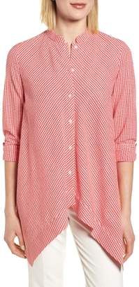Anne Klein Asymmetrical Hem Gingham Blouse
