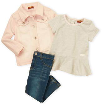 7 For All Mankind Toddler Girls) 3-Piece Ombre Denim Jacket and Jeans