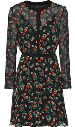 Maje Rayon Floral-Print Chiffon Mini Dress