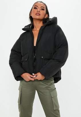 Missguided Petite Black Ultimate Hooded puffer jacket