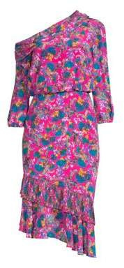 Saloni Women's Lexie Floral Silk Midi Dress - Hot Pink Azalea - Size 0