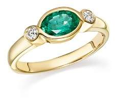 Bloomingdale's Emerald & Diamond Bezel Ring in 14K Yellow Gold - 100% Exclusive