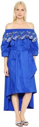 Peter Pilotto Off The Shoulder Cotton Taffeta Dress
